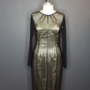 Satin & Mesh Pinup Wiggle Dress